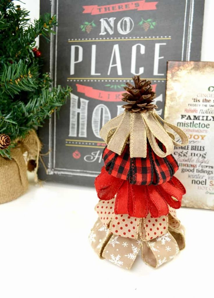 Burlap Ribbon Christmas Tree - A Rustic Holiday Decor DIY