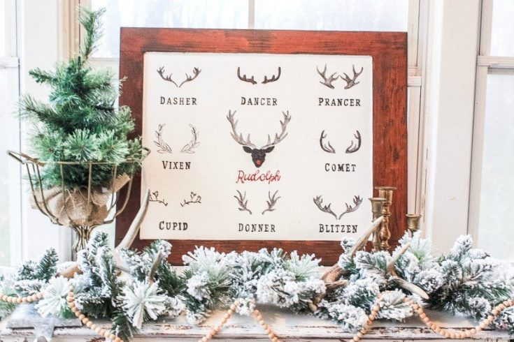 DIY Reindeer Christmas Sign