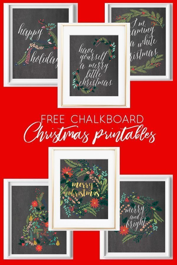 Free Printable Chalkboard Christmas Art