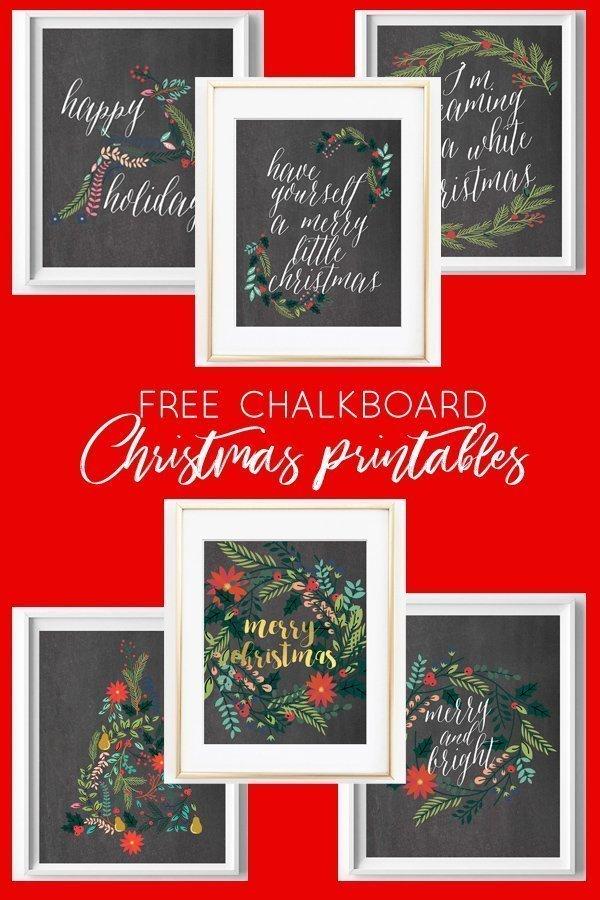 Free Printable Chalkboard Christmas Art