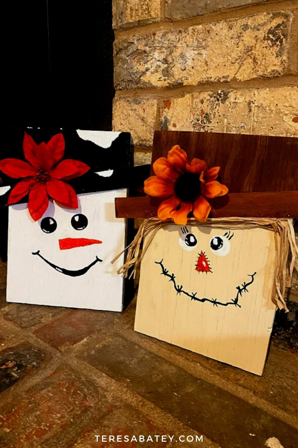 DIY Scarecrow Wood Sign (Snowman Included)
